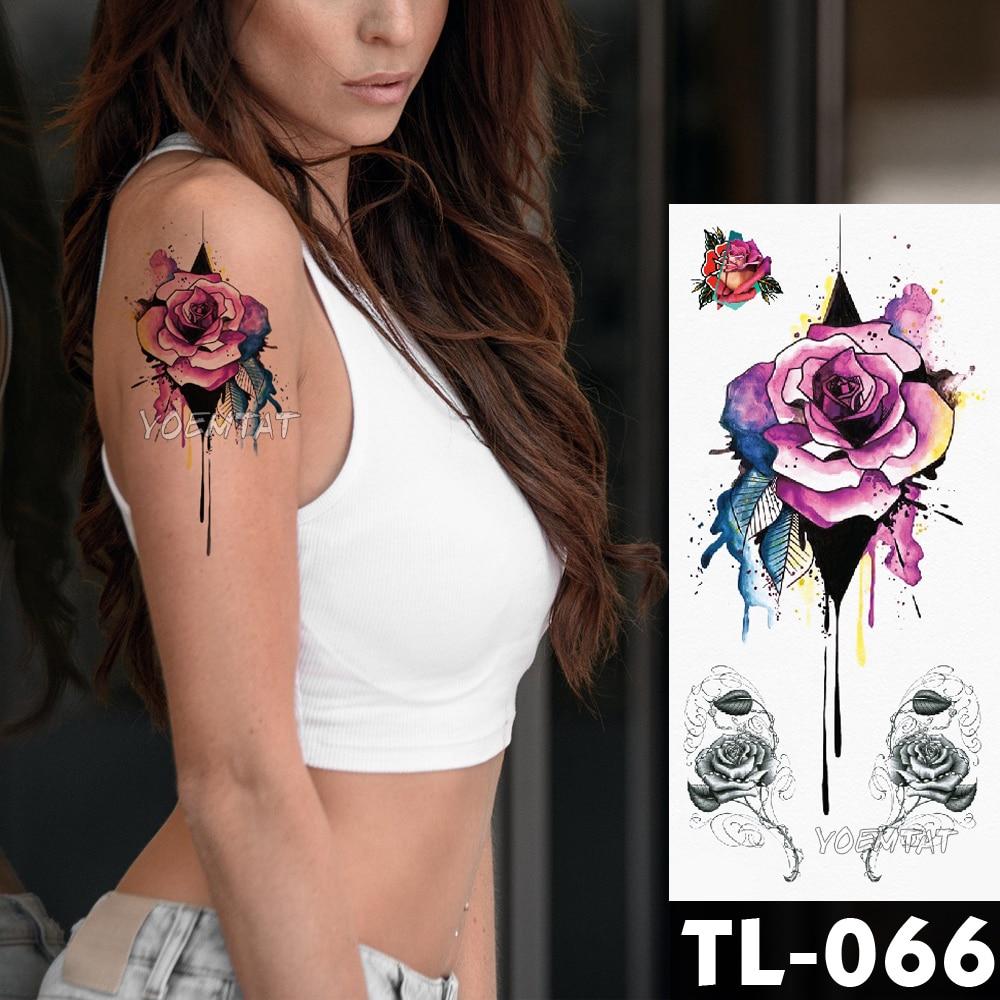 Water Transfer Watercolor Splash Ink Rose Temporary Tattoo Sticker Arm Shoulder Pattern Body Art Waterproof Fake Flash Tattoo