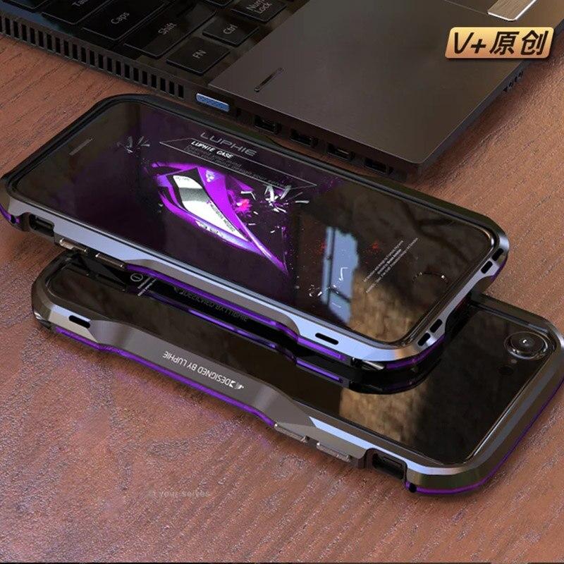 imágenes para Luphie Bicolor para iphone7 7 Más Caso de Parachoques De Aluminio de lujo Forma Prismática de Metal Marco de la Caja Del Botón Del Metal para el iphone 7 cubierta