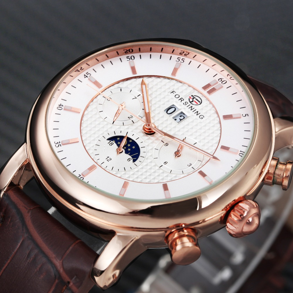 FORSINING Men Watch Leather Strap Moon phase Design Calendar Dial Small Sub-dials Display Top Brand Luxury Mechanical Wristwatch curren 8138 men s dual display watch with leather band 3 sub dials