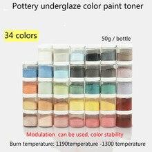 50 г/бутылка керамического цветного тонера 34 цвета могут быть выбраны бессвинцовые керамические красочные подглазурные материалы для покраски