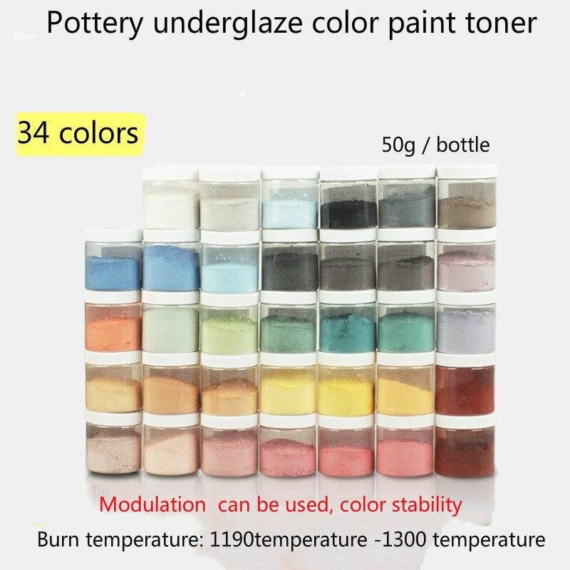 50g/flasche keramik farbe toner 34 farben können ausgewählt werden bleifreie keramik bunte unterglasur malerei materialien