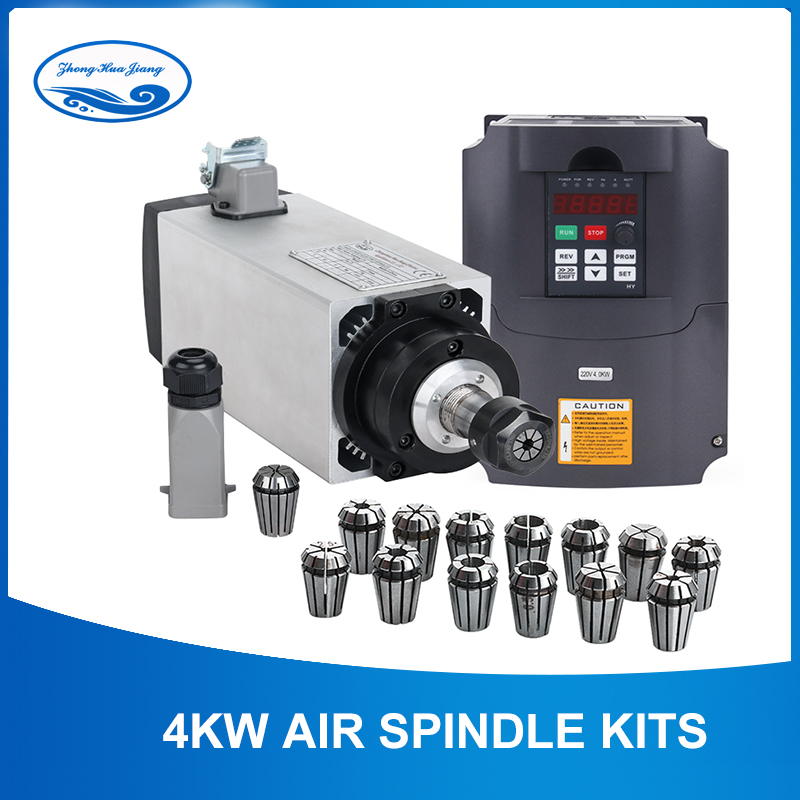 4kw Refrigerado A Ar Motor Spindle CNC Motor Spindle 4 pcs rolamentos + 220 V/4KW Inversor + 1 conjunto ER20 Quadrado moagem fuso da máquina