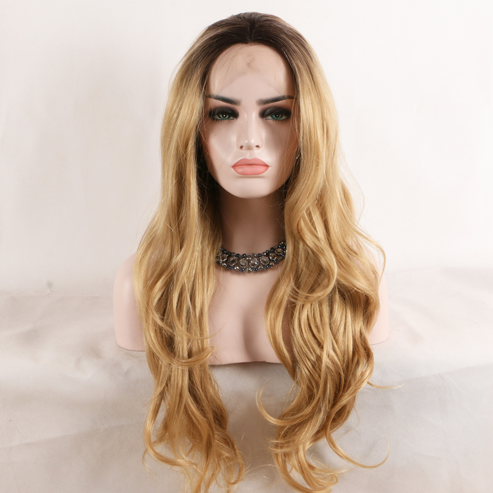 Fantasy Beauty Lace Front ombre blonde Wig 26 inch Long wavy Synthetic Hair Wigs for Women