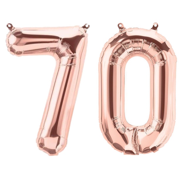 2pcs 40 inch Rose Gold Number <font><b>70</b></font> Foil Balloons Adult 70th <font><b>Birthday</b></font> Party Anniversary Digit Helium Balaos <font><b>Decoration</b></font> Globos image