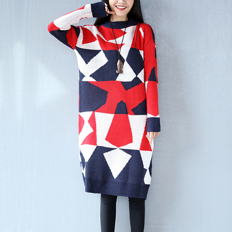 New 2018 Spring Knitted Sweaters Dresses Vestidos Women Geometric pattern O-Neck Long Sleeve Loose Winter Casual Dresses FP0277