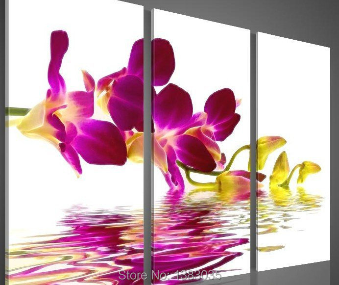 Purple Flower Oil Painting Abstract Wall Art Picture: Hand Painted Modern Waterside Purple Orchid Flower
