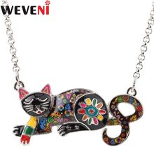 WEVENI Original Statement Mirror Effect Body Cat Kitten Choker Necklace Pendant Collar Jewelry For Women Gift For Cat Lover(China)