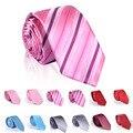 2016 nuevas rayas de cuello desgaste rojo de la boda delgado lazo masculino pink mariage flaco corbata hombre algodón kravat narrow corbatas de moda