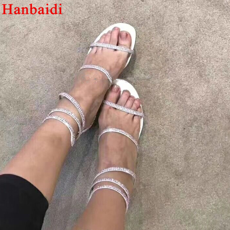 Hanbaidi Newest Fashion Gladiator Sandals Woman Open Toe Rhinestone T-Strap Flat Shoes Woman Sexy Beach Shoes Summer Shoes Women 2018 new fashion women shoes platform sandals genuine leather summer slippers sexy open toe beach shoes women gladiator sandals