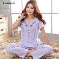 Women's Pajamas Short Sleeve Sleepwear Summer Cotton Pyjamas Trousers Women lounge Pajama Sets Plus Size 3XL