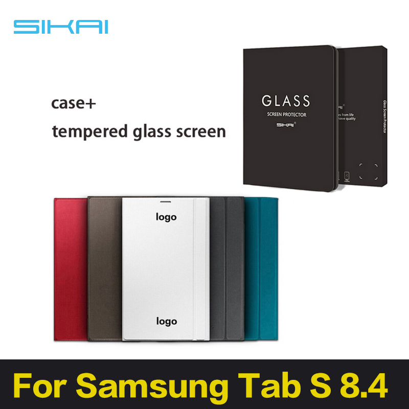 ФОТО Sikai Promotion 1:1 Like Original PU Leather Tablet Case Cover For Samsung Galaxy Tab S 8.4 T700+Tempered Glass Screen Protector