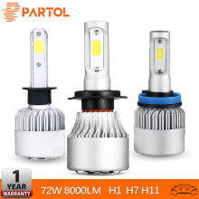 Partol H7 H11 H1 רכב LED פנס נורות 72 W 8000LM COB LED שבבי ערפל אור 6500 K 12 V 24 V עבור רנו Latitude Fluence Kadjar(China)