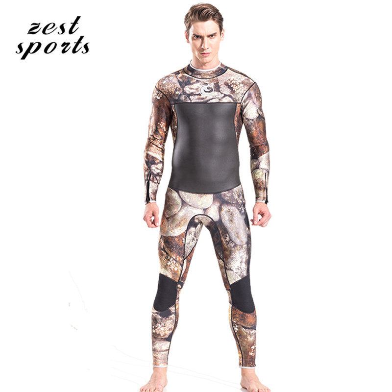 M050, 3mm Neoprene wetsuit, men diving suit, long-sleeves,winter keep warm swimsuit, cobblestone print, surfing clothes men s winter warm swimwear rashguard male camouflage one piece swimsuit 3mm neoprene wetsuit man snorkeling diving suit