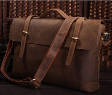 Men Briefcase Crazy Horse Leather Vintage Business Hand Tote Bags 2019 New Man Briefcases Shoulder Crossbody Fashion Casual Bags anaph vintage crazy horse men s leather durable briefcases 15 laptop bag brown cowhide business tote bags 30 year warranty