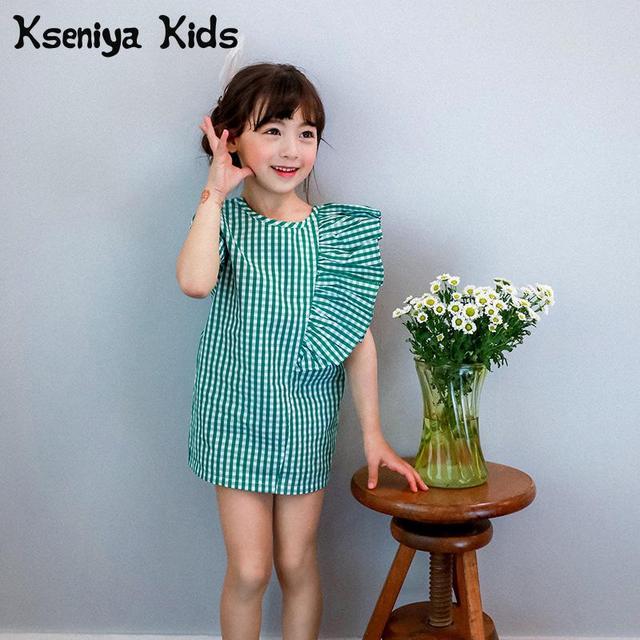 4897b2b429cc Kseniya Kids 2018 Summer New Baby Kids Girl Green Plaid Fashion Children  Dress Girls Flounced Plaid Dress Party Princess Dress