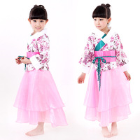 Children Girl Costume Girls Floral Dance Clothing Hanfu Kindergarten Girl Dance Skirt One Piece Dress Kimono