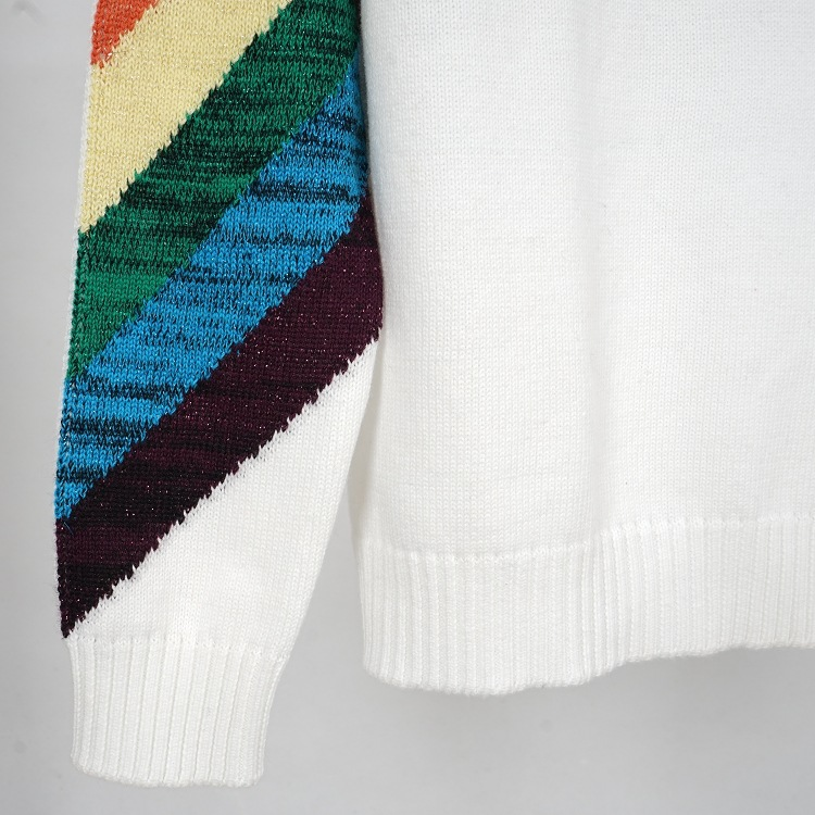 turtleneck sweater and pullover jumper oversize rainbow striped sweater  women autumn winter warm sweater knitted knitwear beige-in Pullovers from  Women s ... d73a1af46