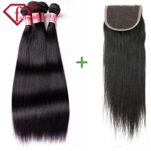 Rosa hair products 7A Brazilian Virgin Hair Straight With Closure2/3 Bundles With Closure Brazilian Straight Hair With Closure