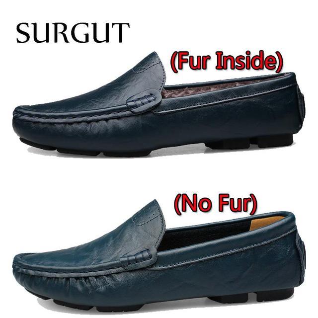 SURGUT Leather & Fur Vintage Genuine Leather Soft Loafers for Men Slip On Moccasins Boat Flats Shoes Big Size 36-50