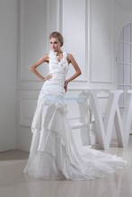 free shipping arrival 2013 new hot woman dress halter custom size/color bridal small train white mermaid wedding