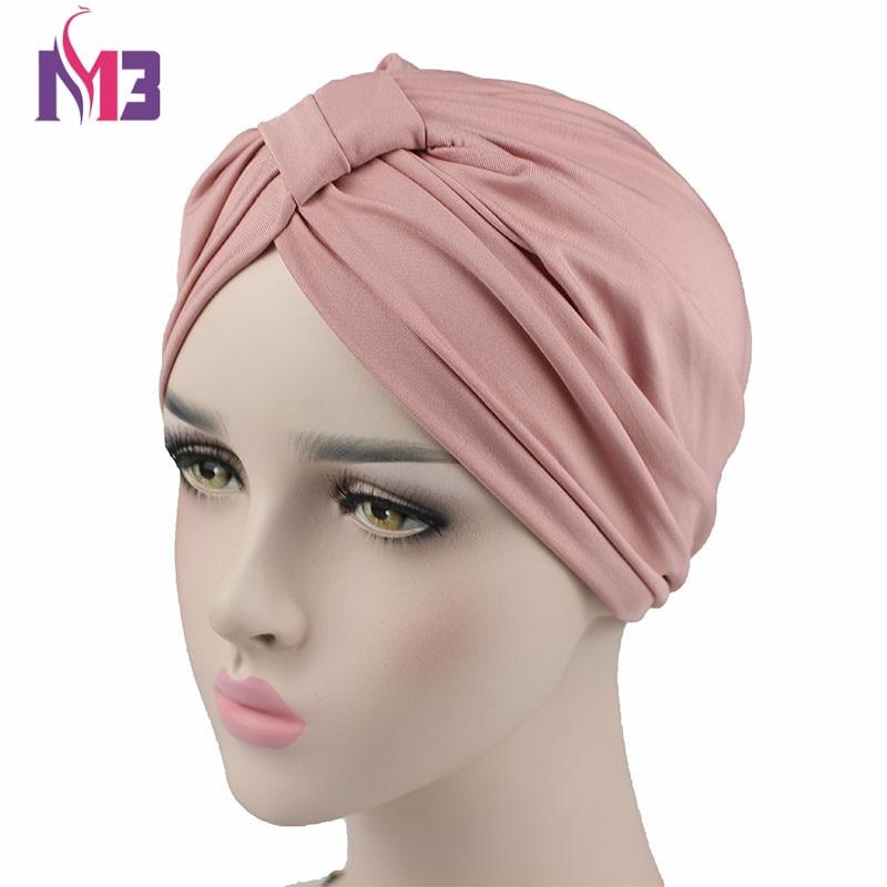 New Fashion Women Stretchy Modal Cotton Turban Dome Cap Headwear For Chemo Twist Hijab Head Scarves Ladies Bonnet Cap Turbante