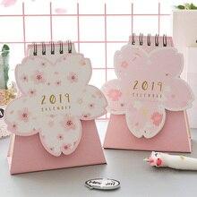JIANWU 1pc Creative Sakura fruit paper 2018 2019 schedule desk calendar weekly planner memo school office stationery