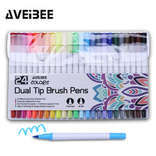 цена на 24 Colors Artist Sketch Marker Pen Set For School Student Drawing Painting Brush Pen Watercolor Manga Marker Art Supplies