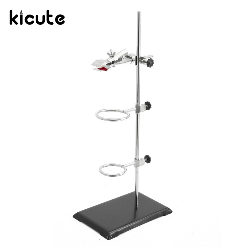 Kicute Excellent Laboratory Stands Mini Retort Stand Support Clamp Flask Lab Stand Set Holder Laboratory School Education Supply 1 set 50cm high retort stand iron stand with clamp clip laboratory ring stand educational equipment school education supplies