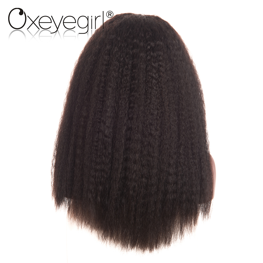 Glueless Lace Front Human Hair Wigs 150% 180% Density Peruvian Hair Natural Color Kinky Straight Wig Non Remy Hair Oxeye girl