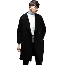 High Quality Super Long Loose Cashmere Coat Men Korean Double-breasted dropped shoulder mens long sleeve Plus Size Trench Coat