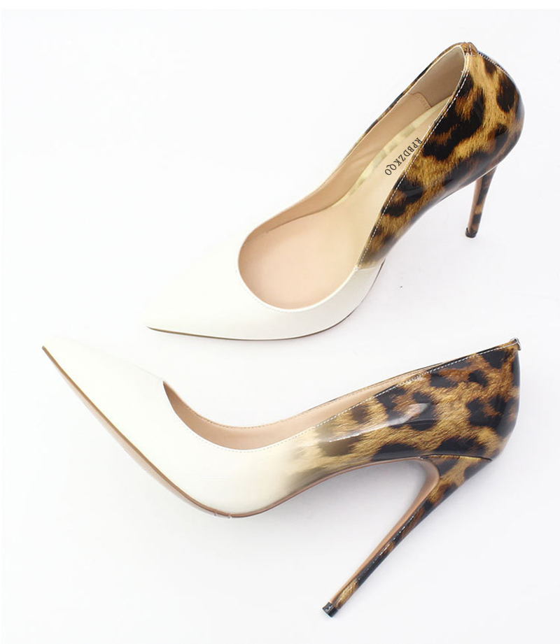 Großhandel Damen Handgemachte Scarpin Schuhe Pumps Leopardenmuster High Heels Big Size 13 45 Spitz 12 44 Gothic Exotic Dancer 12cm 5 Inch Von Gaoshoe,