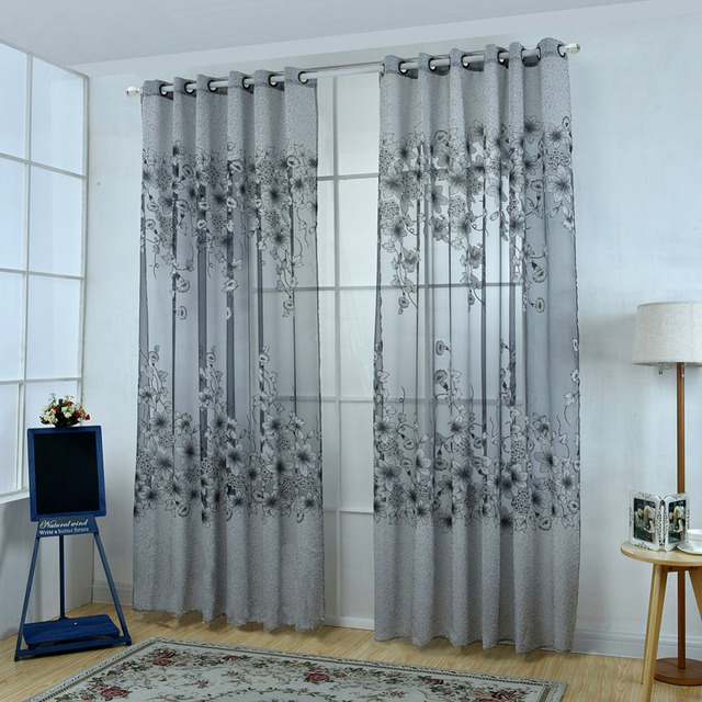 Us 105 15 Off1pc European Style Floral Morning Glory Brilliant Flower Tulle Curtain House Decor Door Blackout Window Curtain 229319 In Curtains
