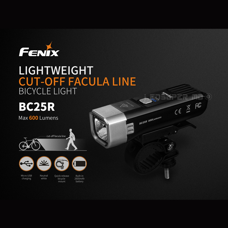 Hot Cake Fenix BC25R 600 Lumens USB Rechargeable Lightweight Cut-off Facula Line Bicycle Light For Commuting By Bike
