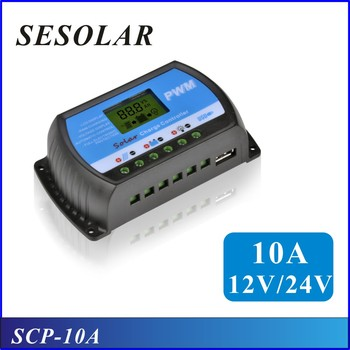 2017 10PCS Sesolar PWM 10A Solar Charge Controller 12V 24V LCD Display USB 5V Solar Panel Charge controller free shipping
