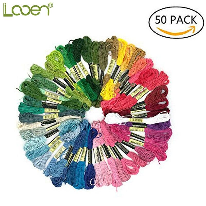 50Pcs/set Multicolor Soft Cotton Cross Stitch Floss Prism Six-Strand Premium Rainbow Color Embroidery Sewing Threads
