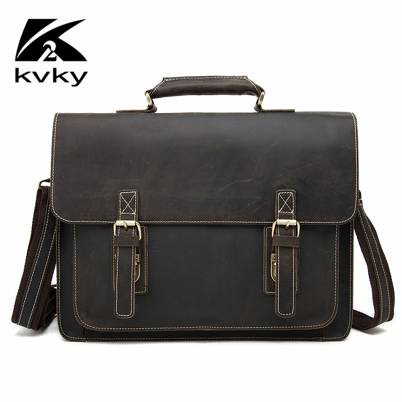 KVKY Vintage Genuine Leather Briefcase Man Crazy Horse Leather Laptop Bag Men Handbags Business Man Shoulder Bag Travel Bags vintage genuine leather men briefcase bag business men s laptop notebook high quality crazy horse leather handbag shoulder bags