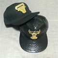 High Quality Men Fashion Bulls Leather Snapback Baseball Cap Hip Hop Hat