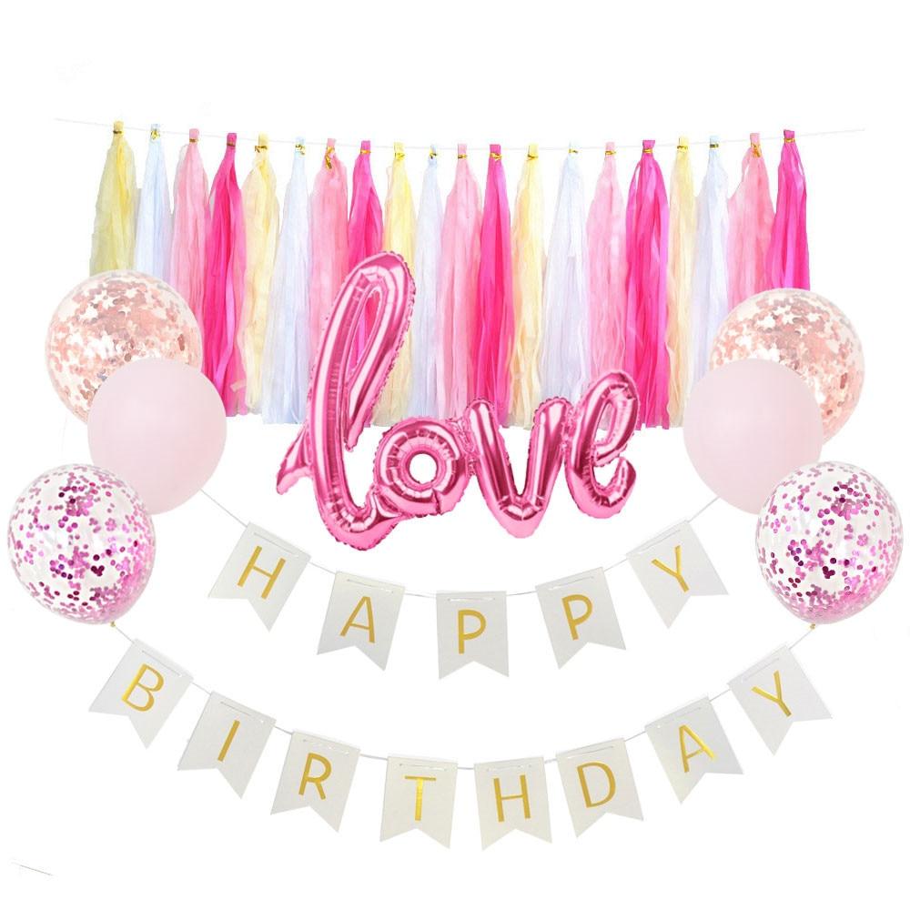 1set Balloon Banner Garland Decoration Pink Rose Gold Photography Backdrop DIY Happy Birthday Party Supplies SAD43