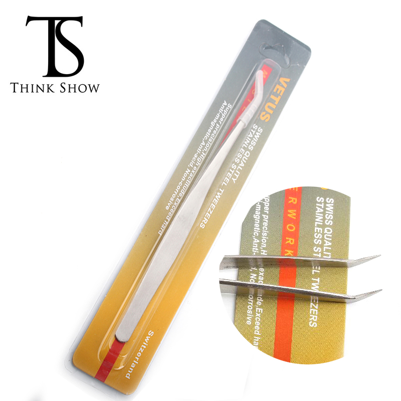 THINKSHOW 1/2/5pcs Curved Tweezers for Eyelash Extension Stainless Steel Professional,High Quality Curved Tweezers for Makeup
