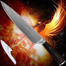 Kitchenware 8 inch chef kitchen knife 7Cr17 stainless steel Damascus pattern laser technology cooking tools pakka wood handle