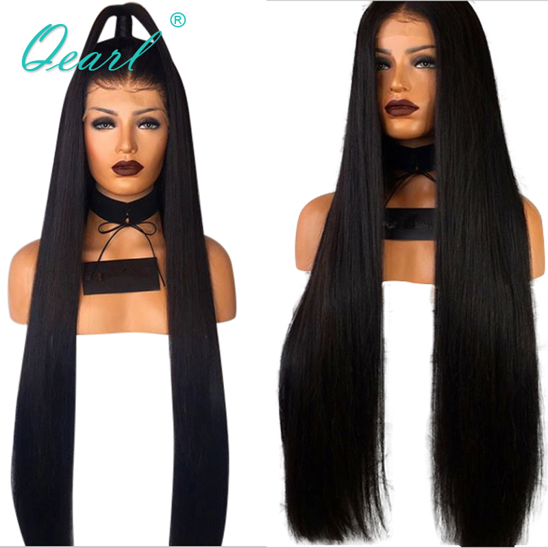 """Image 3 - Peruvian Remy Hair Lace Front Wig Super Long 24""""26""""28""""30""""32"""" Thickest Density Silky Straight Human Hair Middle Part 13x4 QearlHuman Hair Lace Wigs   -"""