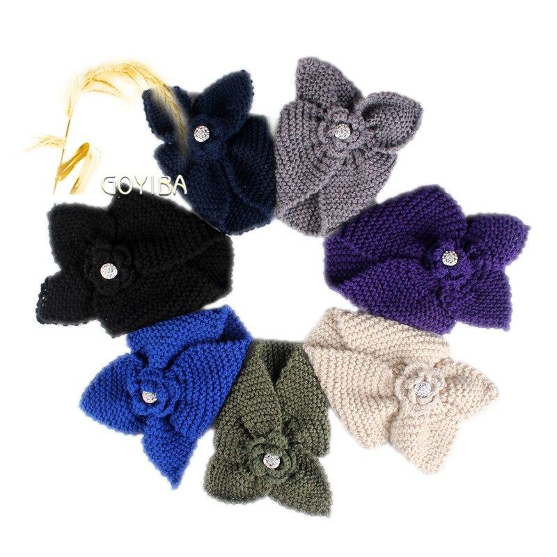 Goyiba 7 Farbe Frauen Winter Blume Häkeln Stricken Strickstirnband