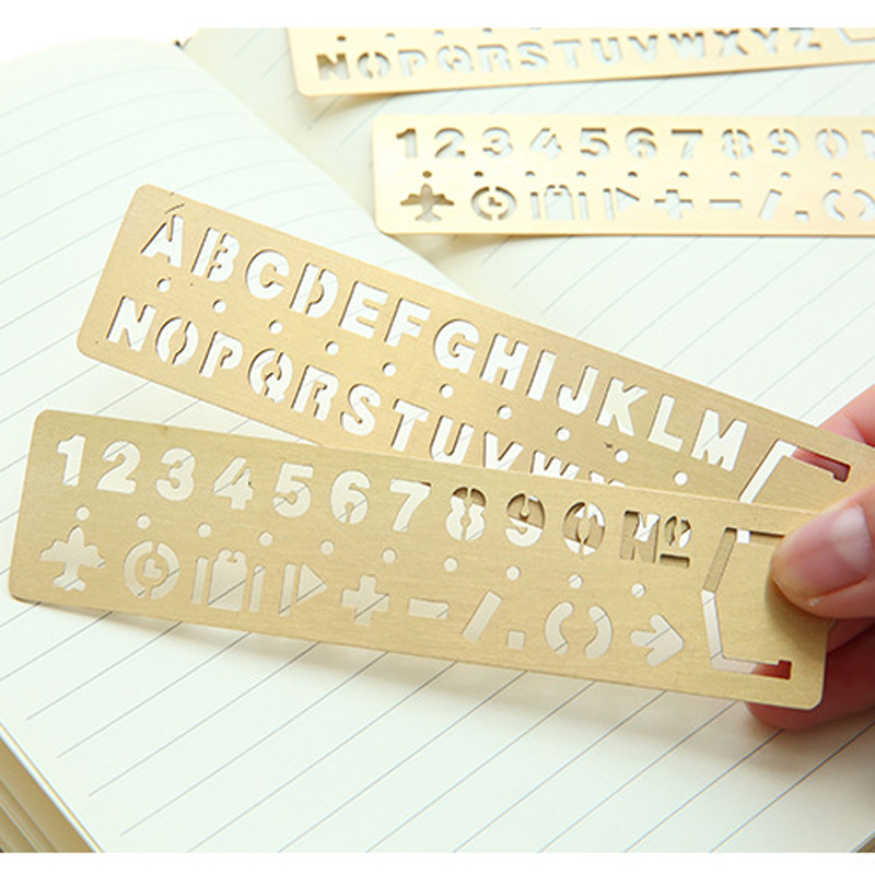 1PC Creative Vintage Hollow Metal Ruler Kawaii Letter Number Bookmark Rulers Template Ruler For Kids Gift School&Office Supplies
