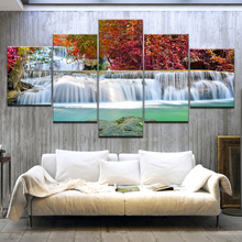 5 Panel HD Printed A waterfall red forest Lake Landscape Print On Canvas Art Painting For home living room decoration