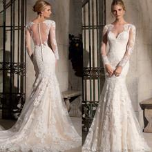 Vestido de noiva sereia rendas managa longa long sleeve mermaid wedding dress with court train lace