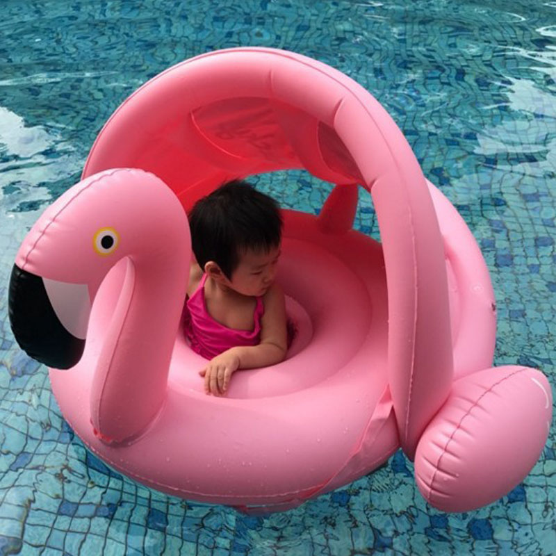 0-3 Years Old Baby Inflatable Flamingo Swan Pool Float Ride-On Swimming Ring Safe Sunshade Seat Water Party Toys Infant Circle