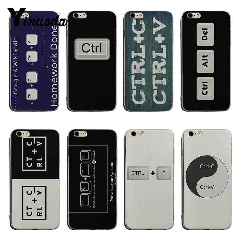 Yinuoda Ctrl C و Ctrl V يساوي الواجبات المنزلية فعلت لينة tpu غطاء إطار هاتف محمول ل فون 6 6 زائد 7 7 زائد 8 8 زائد X XS XR XSMax