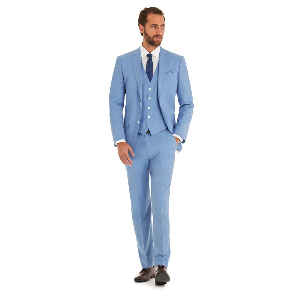2017 Slim Fit New Fashion Brand Wedding Party Sky Blue Tuxedo ...