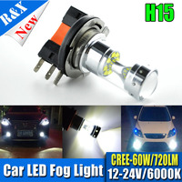 Free Shipping Super Bright High Power 2X H15 XBD 12SMD 60W LED Fog Lights Canbus Auto