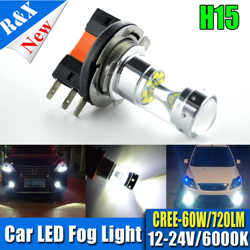 Free Shipping Super Bright High Power 2X H15 XBD 12SMD 60W LED Fog Lights Canbus Auto Car Led DRL Daytime Running Light Fog Lamp free shipping 2pcs super bright car headlight 9007 hi lo h l high and low 60w 6000lm cob all in one led auto front fog bulb